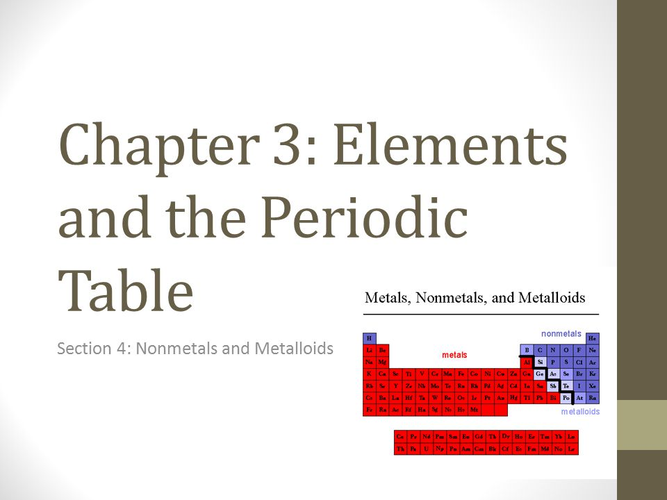 Chapter 3: Elements and the Periodic Table