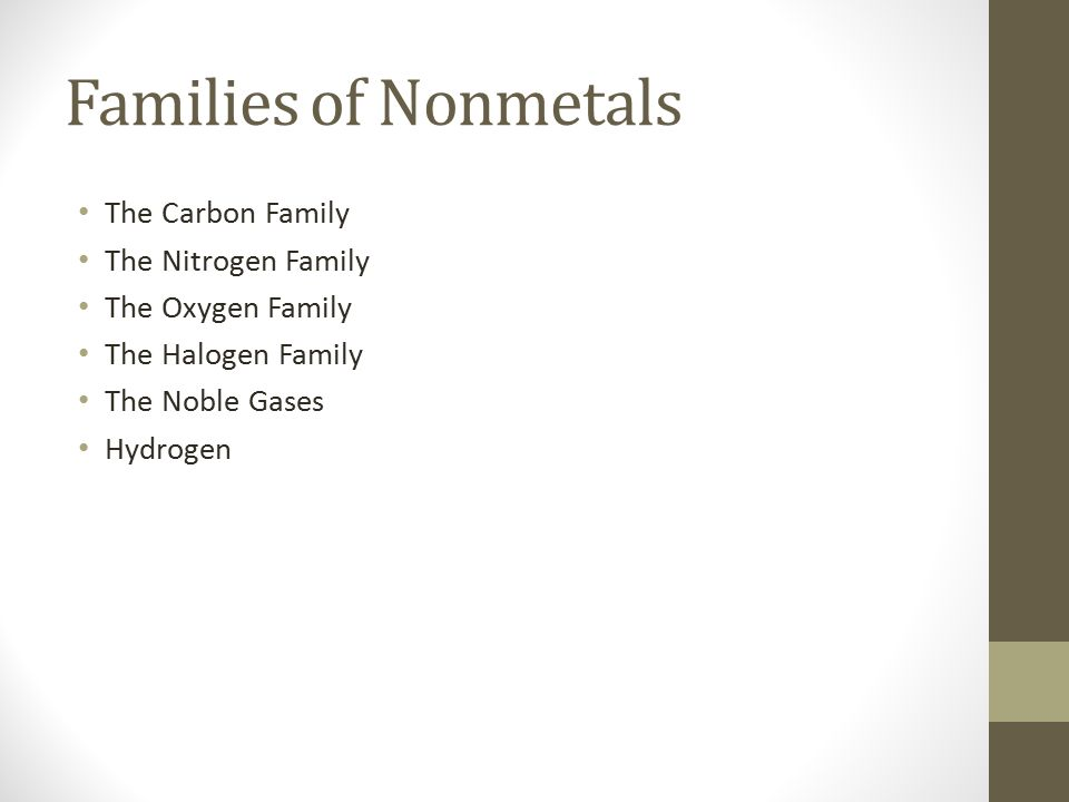 Families of Nonmetals The Carbon Family The Nitrogen Family