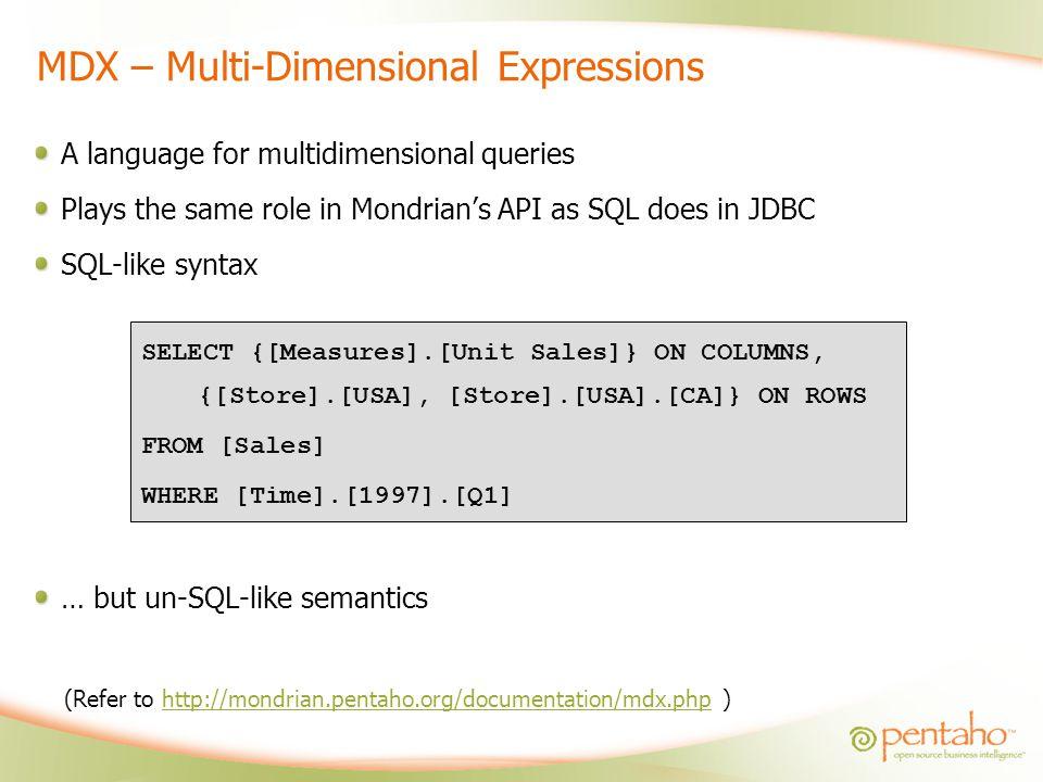 MDX – Multi-Dimensional Expressions