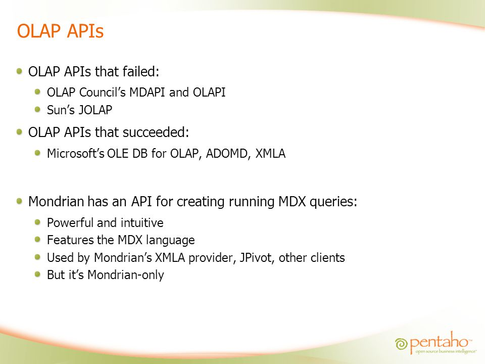 OLAP APIs OLAP APIs that failed: OLAP APIs that succeeded: