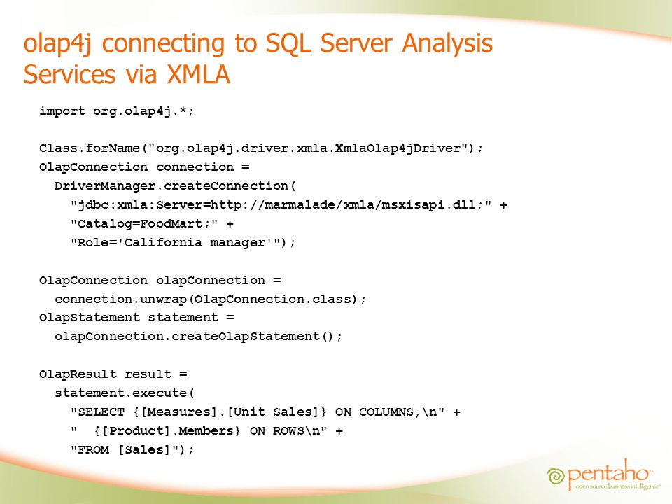 olap4j connecting to SQL Server Analysis Services via XMLA