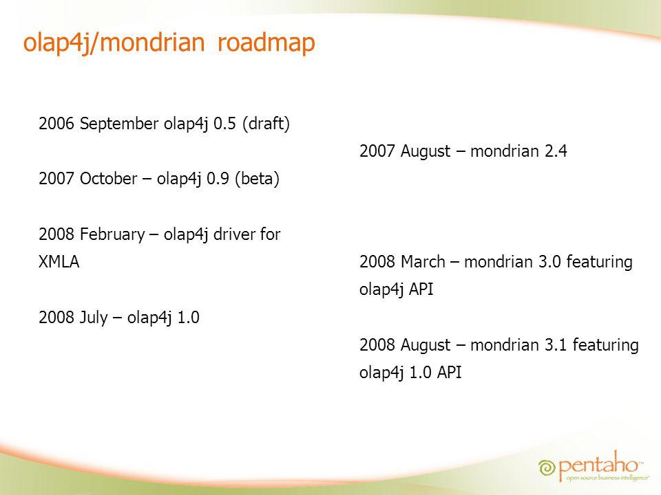 olap4j/mondrian roadmap
