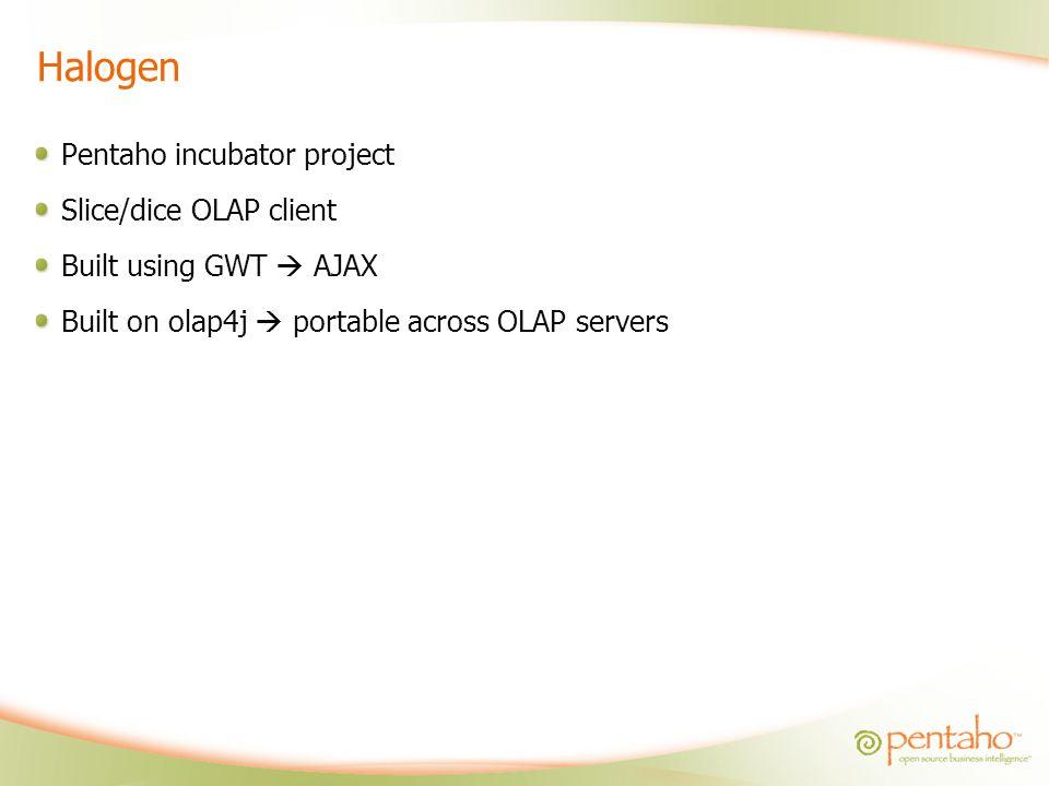 Halogen Pentaho incubator project Slice/dice OLAP client