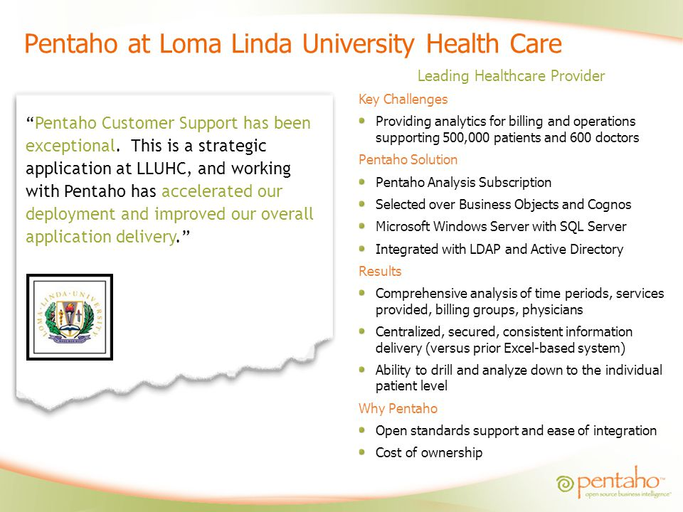 Pentaho at Loma Linda University Health Care