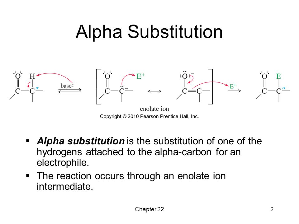 Alpha Substitution Alpha substitution is the substitution of one of the hydrogens attached to the alpha-carbon for an electrophile.