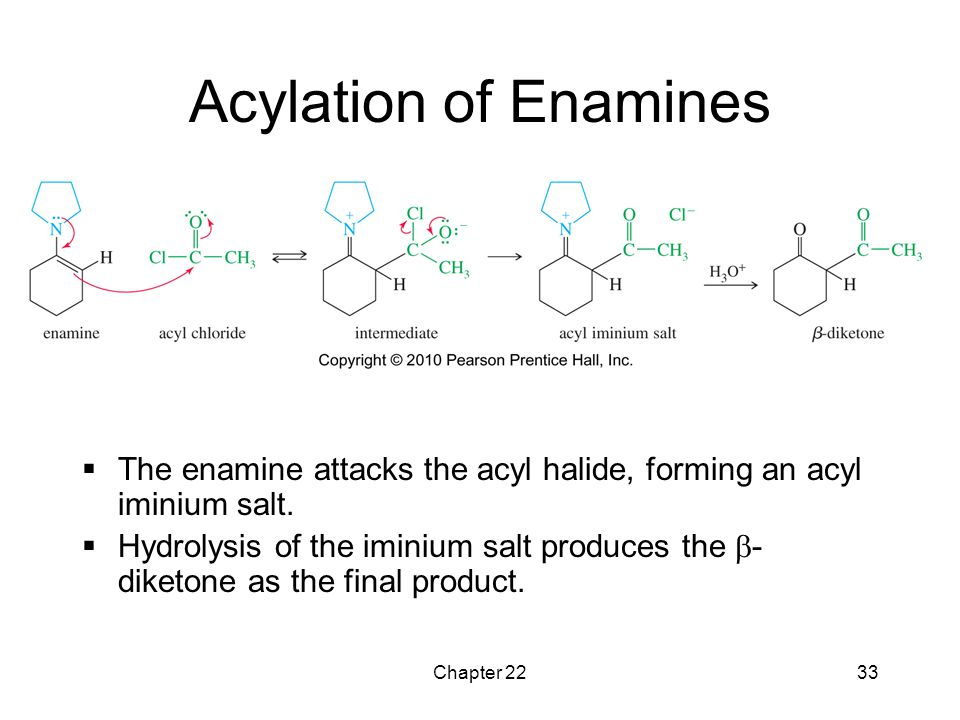 Acylation of Enamines The enamine attacks the acyl halide, forming an acyl iminium salt.
