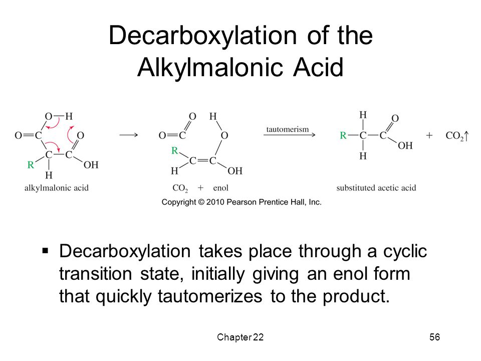 Decarboxylation of the Alkylmalonic Acid