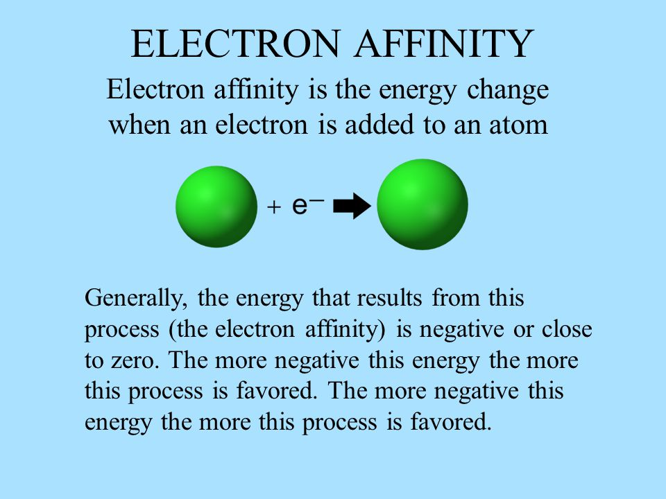 ELECTRON AFFINITY Electron affinity is the energy change when an electron is added to an atom.