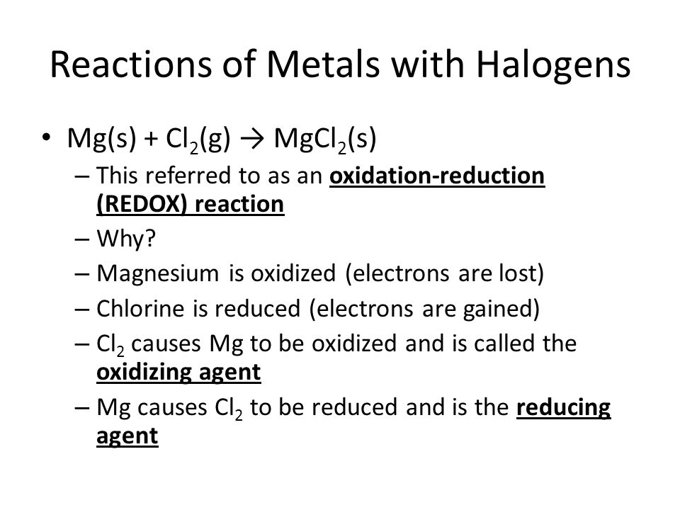 Reactions of Metals with Halogens
