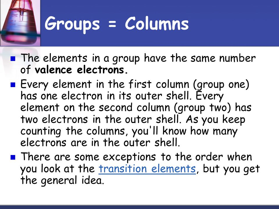 Groups = Columns The elements in a group have the same number of valence electrons.