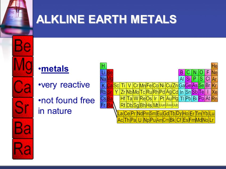 ALKLINE EARTH METALS metals very reactive not found free in nature