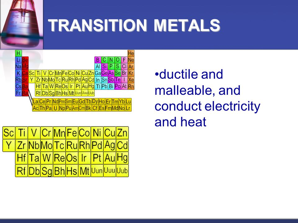 TRANSITION METALS ductile and malleable, and conduct electricity and heat