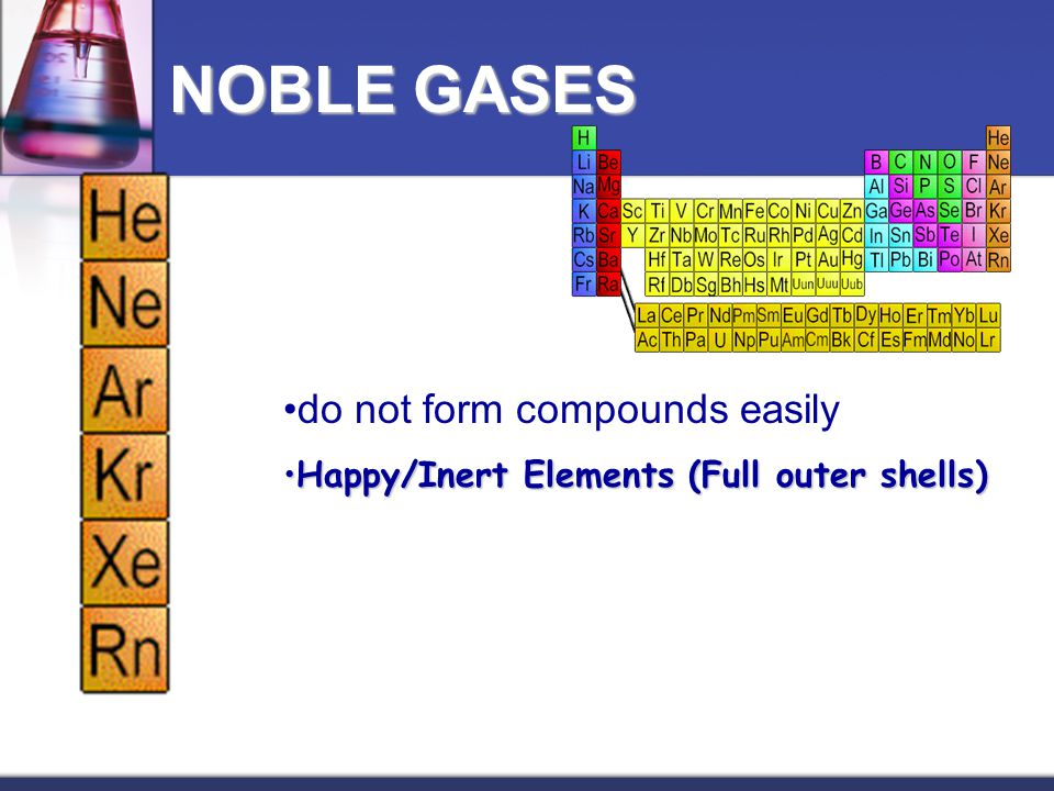 NOBLE GASES do not form compounds easily