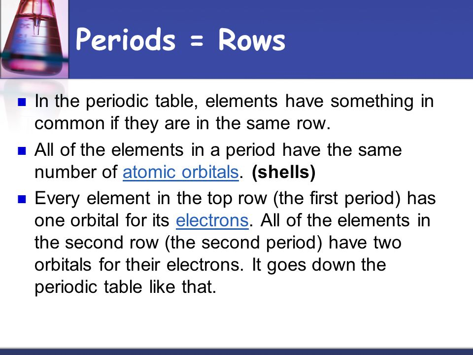 Periods = Rows In the periodic table, elements have something in common if they are in the same row.