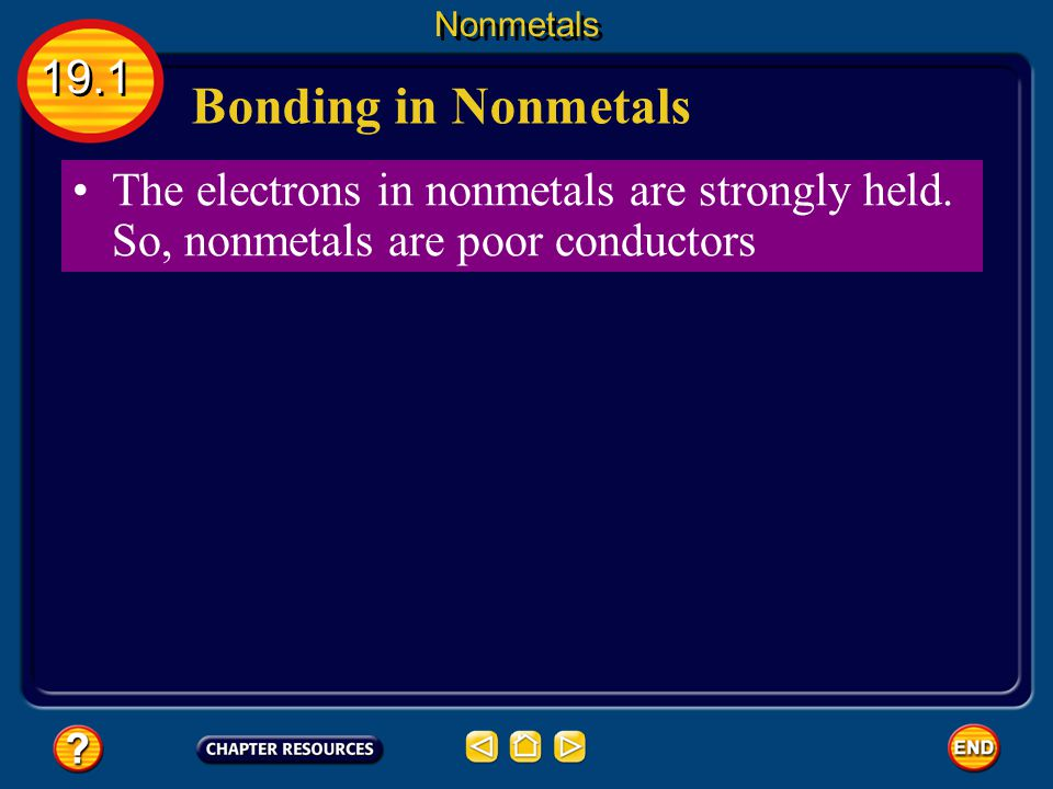 Nonmetals 19.1. Bonding in Nonmetals. The electrons in nonmetals are strongly held.
