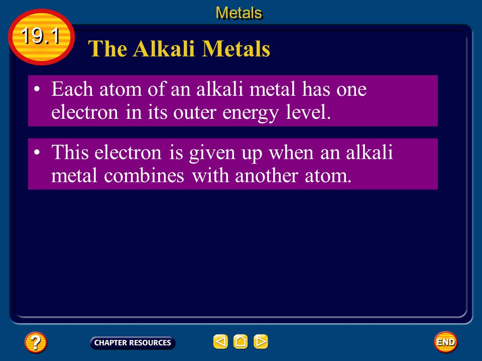 Metals 19.1. The Alkali Metals. Each atom of an alkali metal has one electron in its outer energy level.