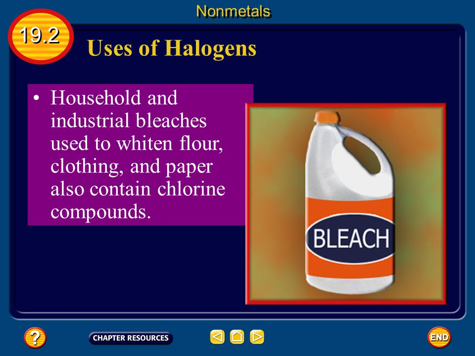 Nonmetals 19.2. Uses of Halogens.