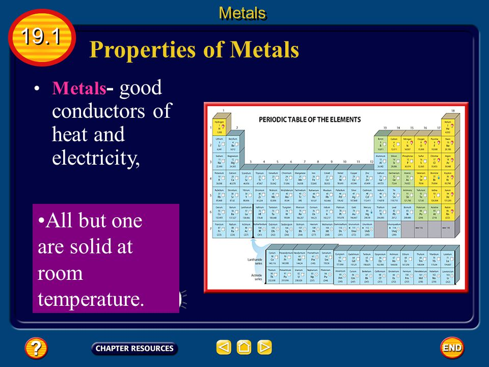 Properties of Metals 19.1 All but one are solid at room temperature.