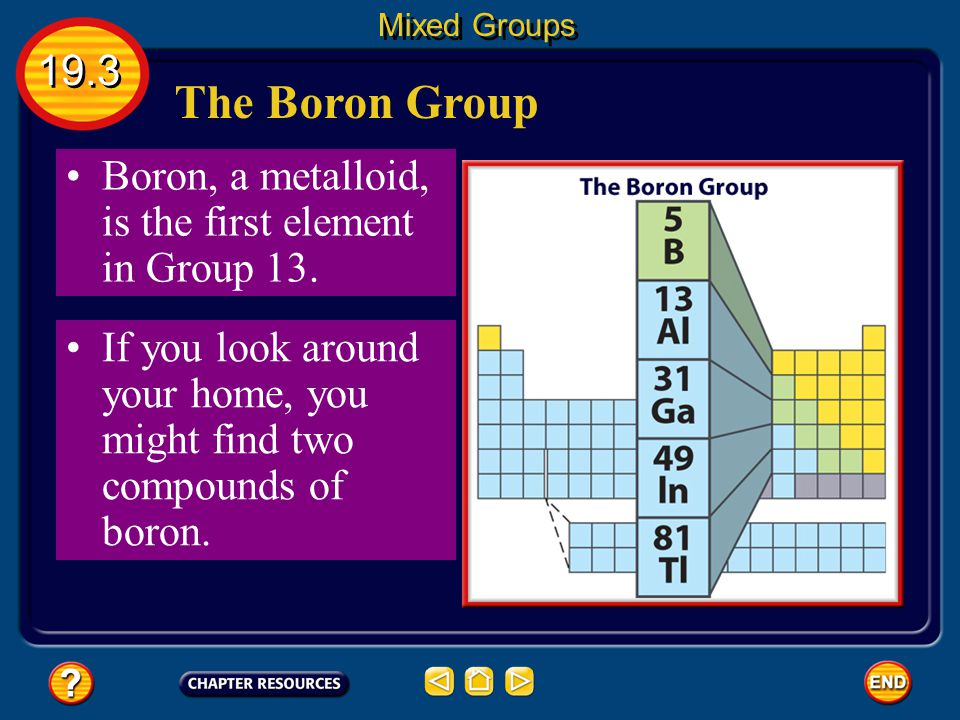 Mixed Groups 19.3. The Boron Group. Boron, a metalloid, is the first element in Group 13.