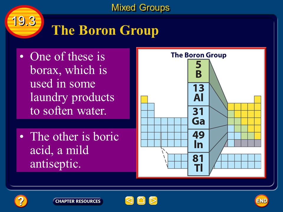 Mixed Groups 19.3. The Boron Group. One of these is borax, which is used in some laundry products to soften water.