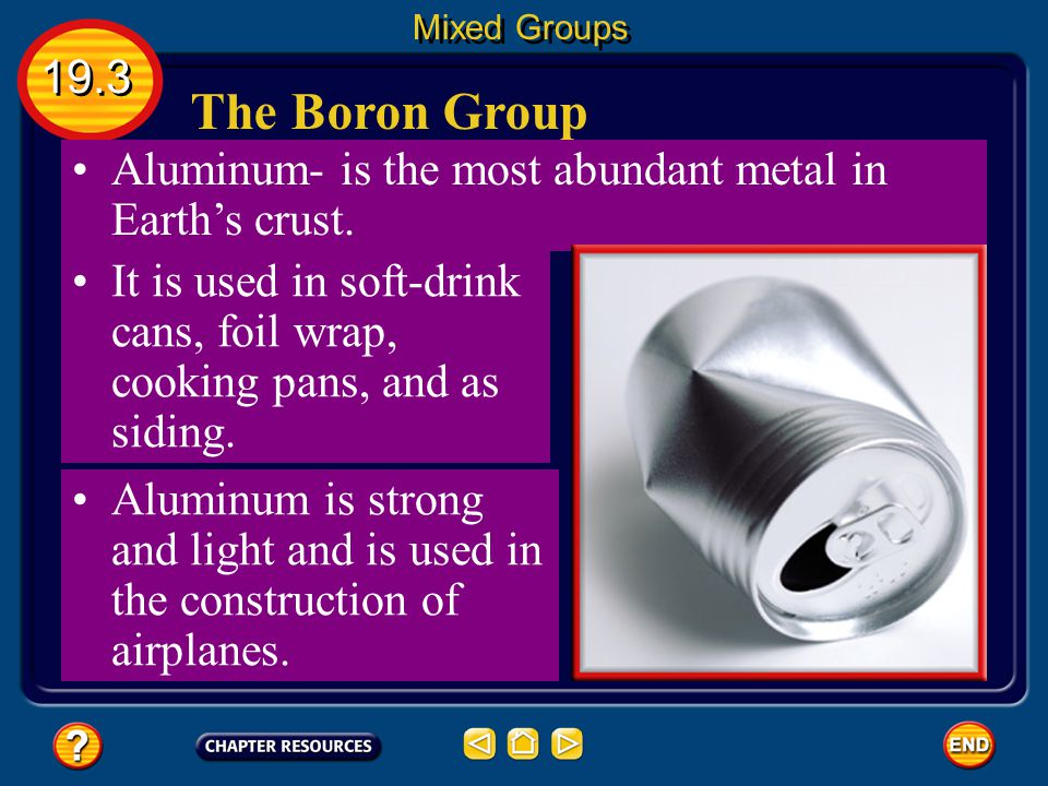 Mixed Groups 19.3. The Boron Group. Aluminum- is the most abundant metal in Earth's crust.
