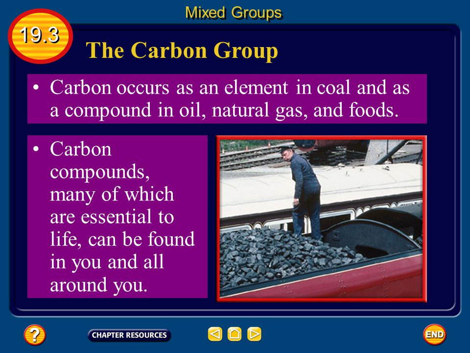 Mixed Groups 19.3. The Carbon Group. Carbon occurs as an element in coal and as a compound in oil, natural gas, and foods.