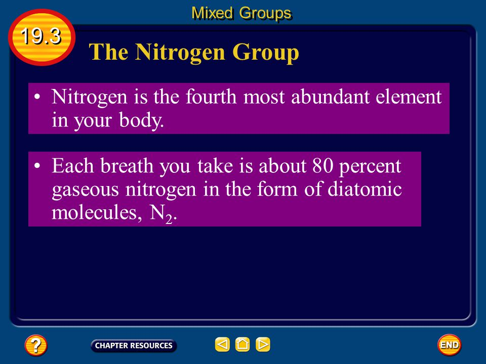 Mixed Groups 19.3. The Nitrogen Group. Nitrogen is the fourth most abundant element in your body.