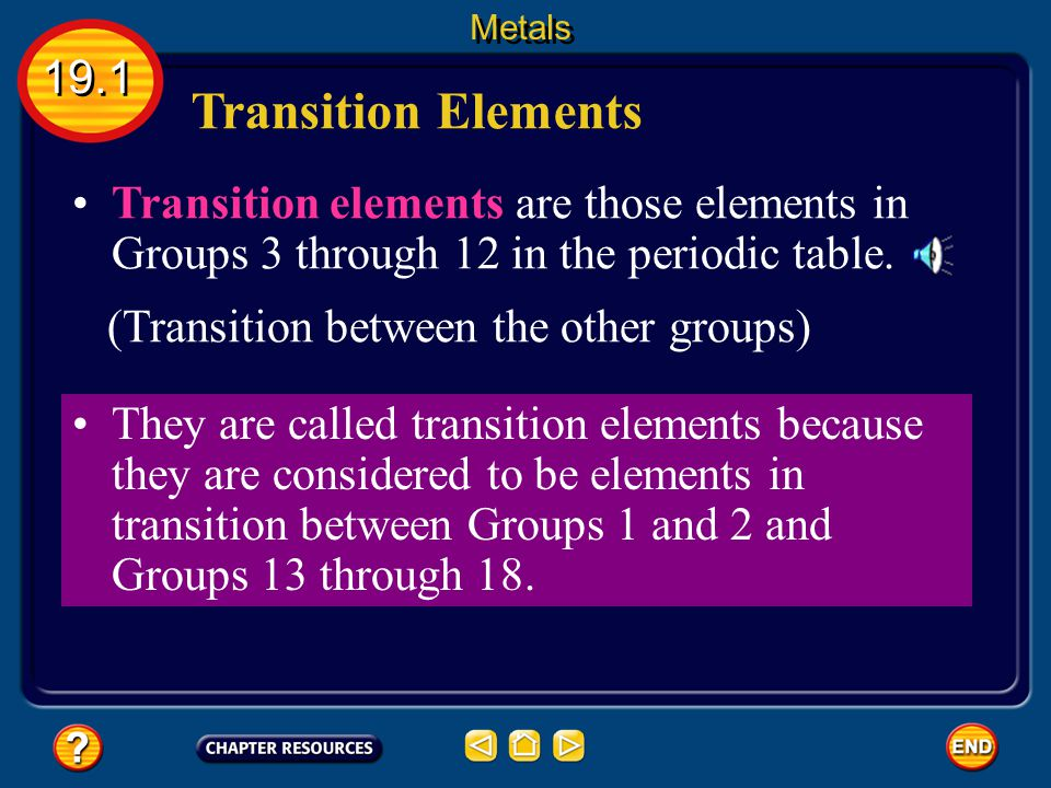 Metals 19.1. Transition Elements. Transition elements are those elements in Groups 3 through 12 in the periodic table.