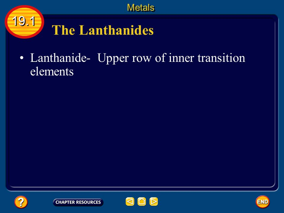 Metals 19.1 The Lanthanides Lanthanide- Upper row of inner transition elements