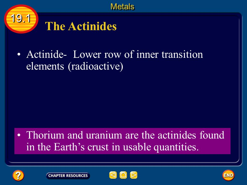 Metals 19.1. The Actinides. Actinide- Lower row of inner transition elements (radioactive)