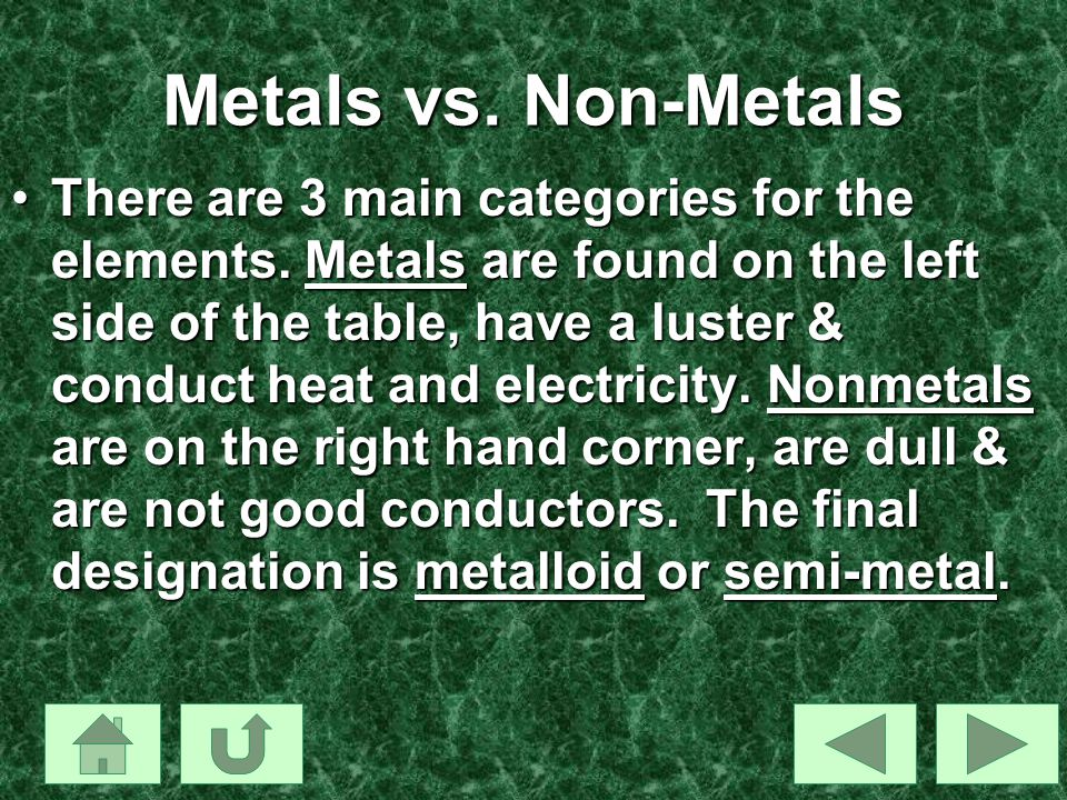 Metals vs. Non-Metals