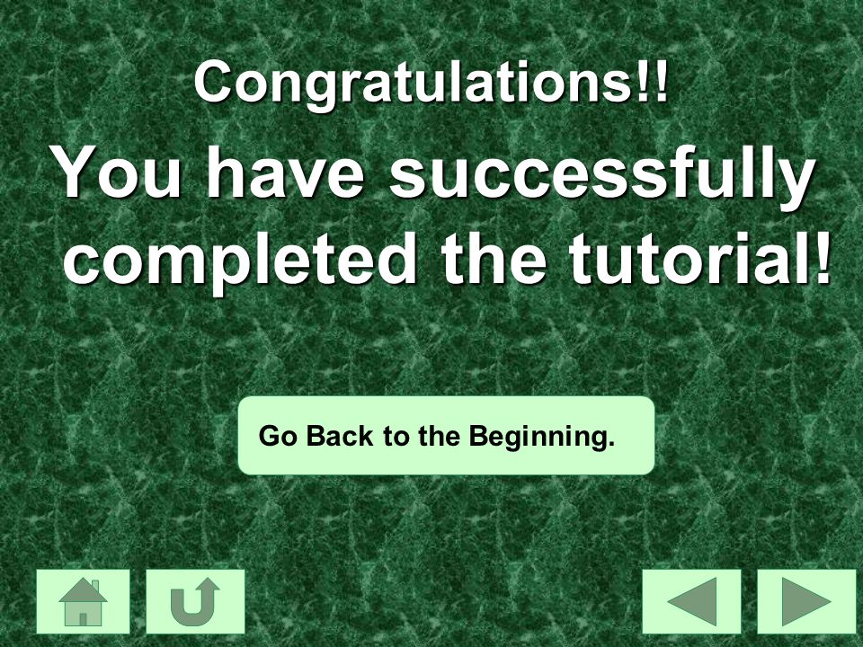 You have successfully completed the tutorial!