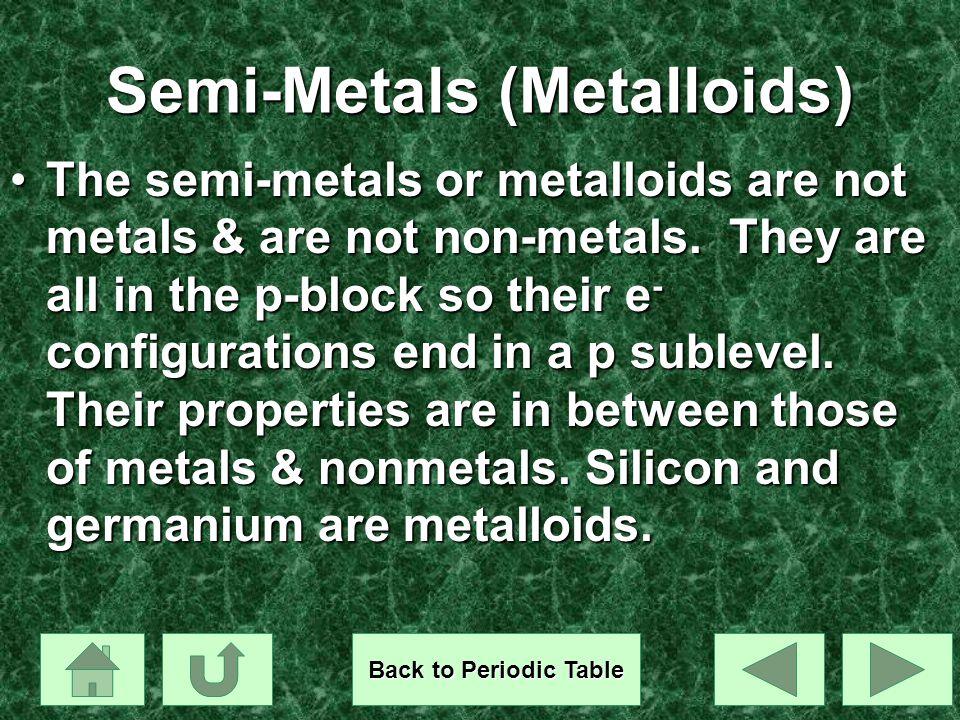 Semi-Metals (Metalloids)