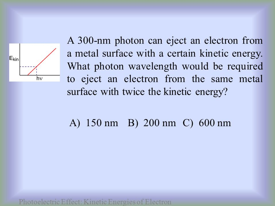 Photoelectric Effect: Kinetic Energies of Electron