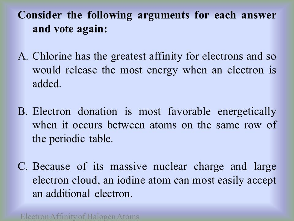 Electron Affinity of Halogen Atoms