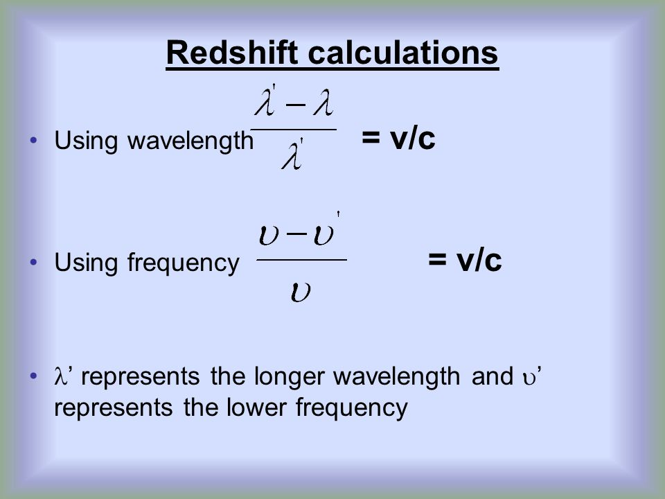 Redshift calculations