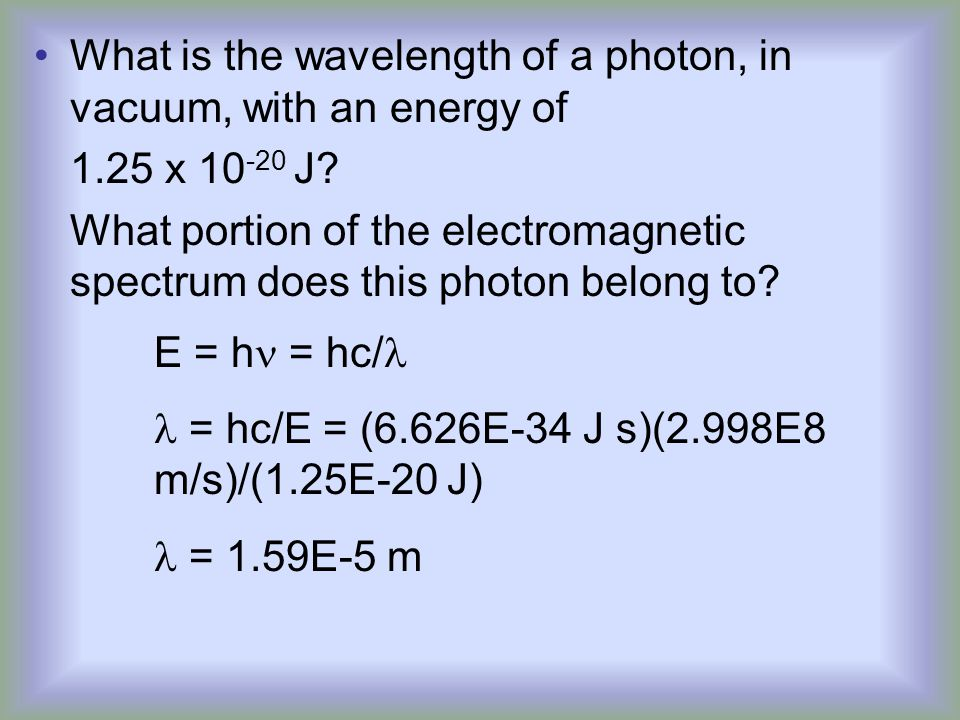 What is the wavelength of a photon, in vacuum, with an energy of