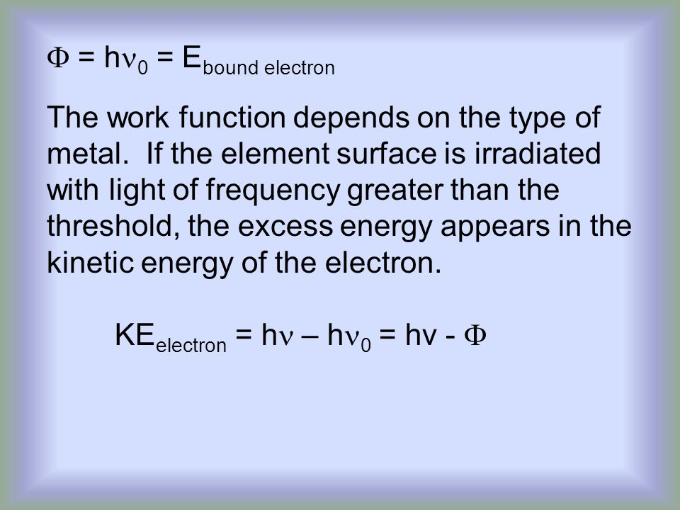 F = hn0 = Ebound electron