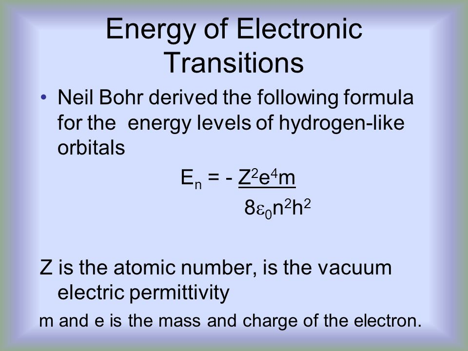 Energy of Electronic Transitions