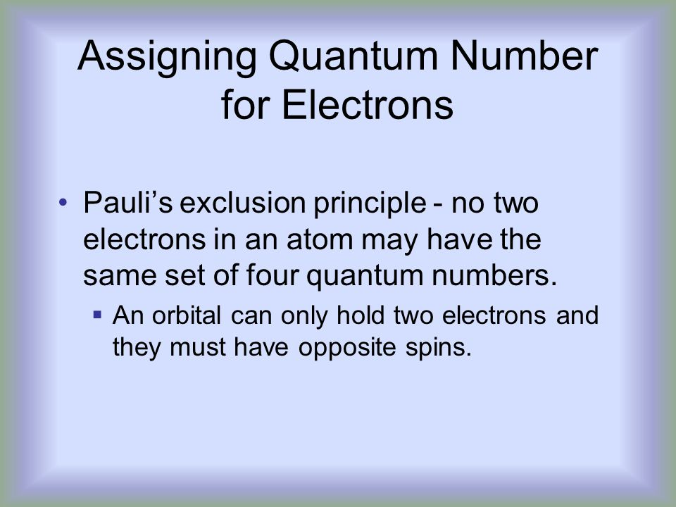 Assigning Quantum Number for Electrons
