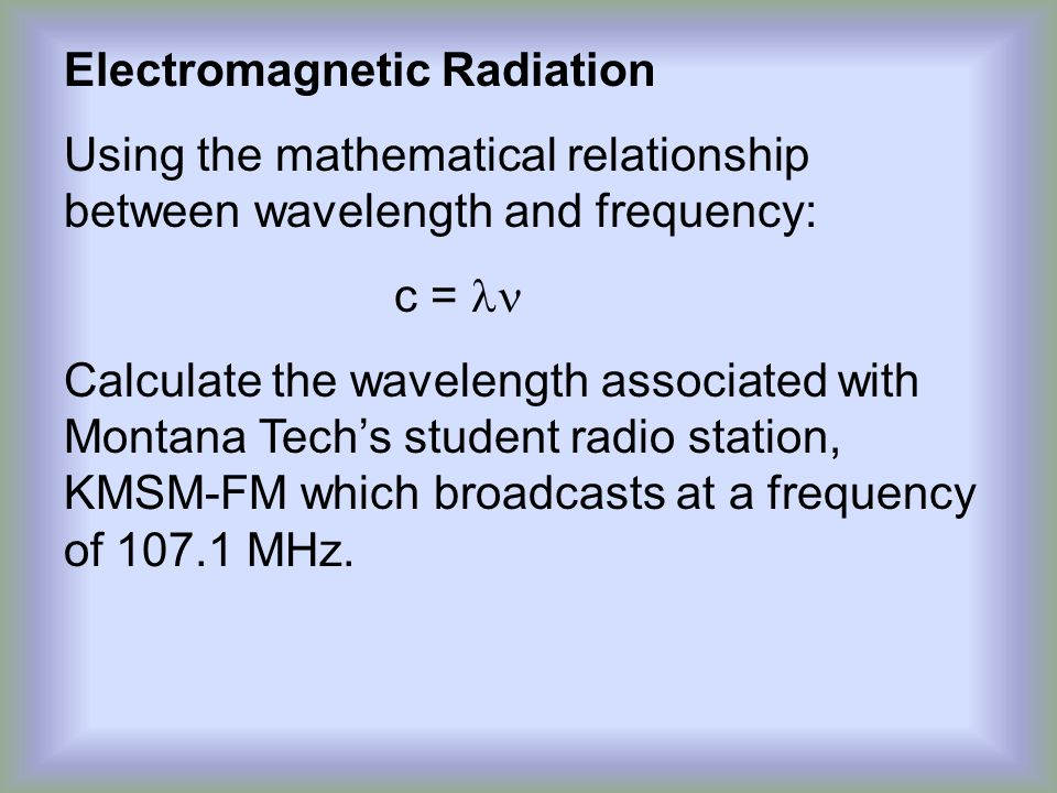 mathematical relationship between frequency wavelength and energy