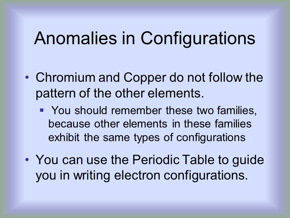 Anomalies in Configurations