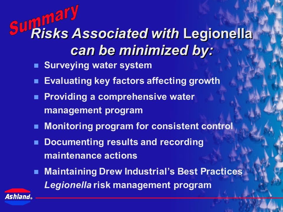 Risks Associated with Legionella can be minimized by: