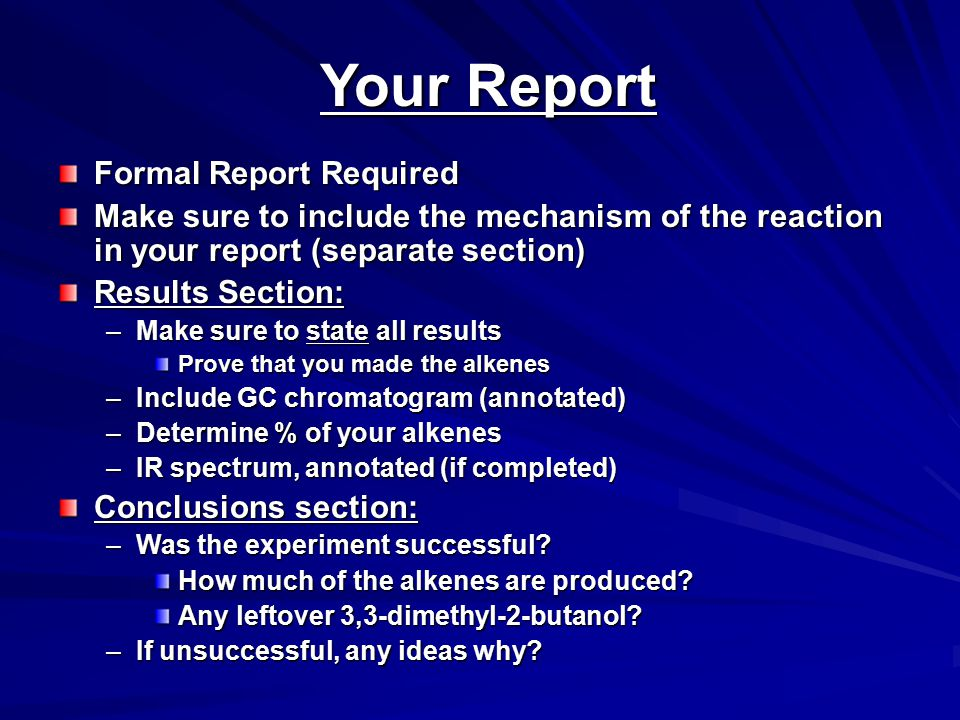 Your Report Formal Report Required
