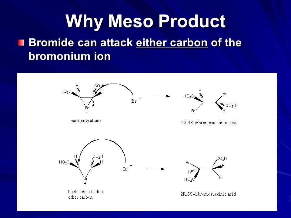 Why Meso Product Bromide can attack either carbon of the bromonium ion