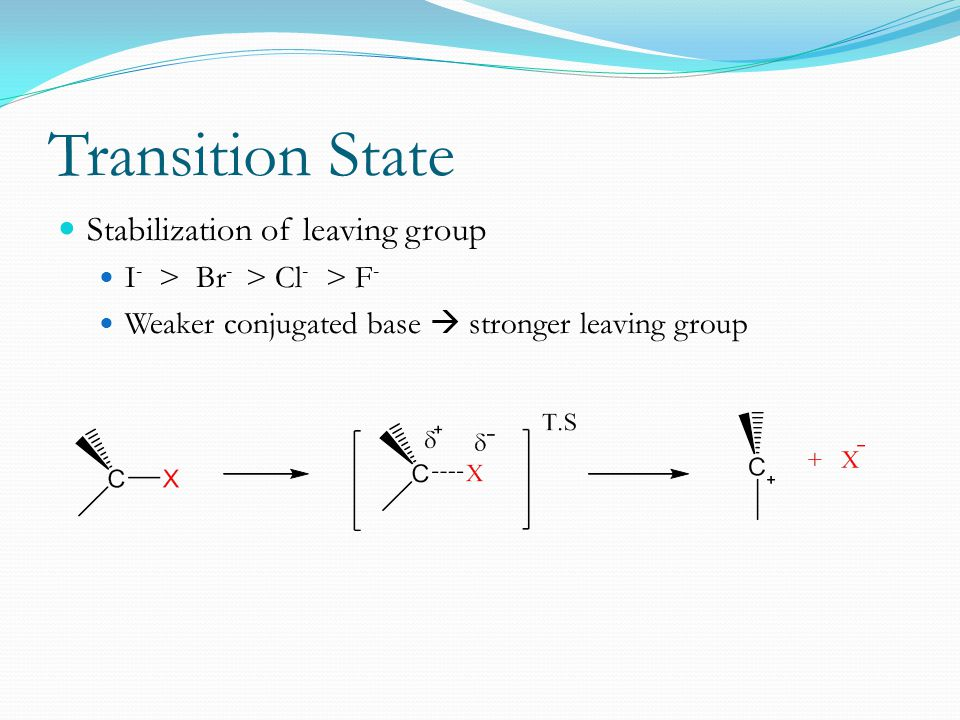 Transition State Stabilization of leaving group