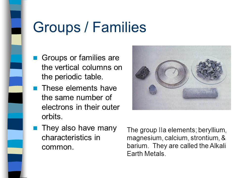 Groups / Families Groups or families are the vertical columns on the periodic table.