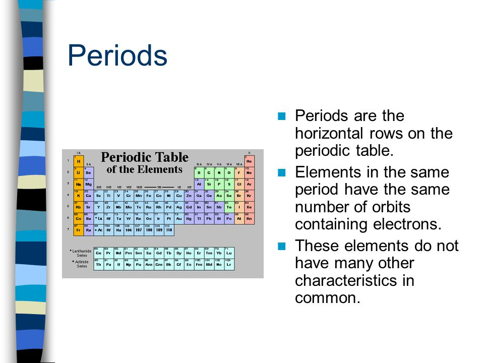 Periods Periods are the horizontal rows on the periodic table.