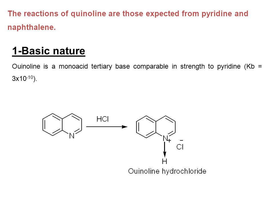 The reactions of quinoline are those expected from pyridine and naphthalene.