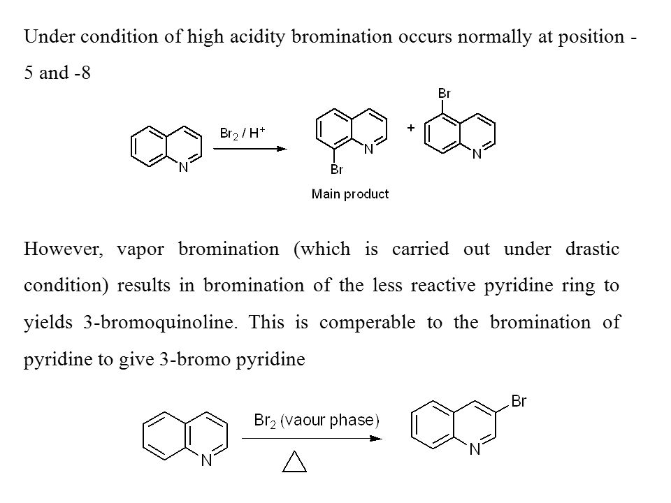 Under condition of high acidity bromination occurs normally at position -5 and -8
